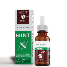 HEMP & CBD - BROAD SPECTRUM MINT TINCTURE IN HEMPSEED OIL - 500MG