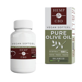 HEMP & CBD - 60CT 1500MG VEGAN SOFTGELS - PURE OLIVE OIL