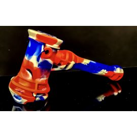 SILICON HAMMER BUBBLER RED / BLUE SWIRL W/GLASS BOWL PIECE