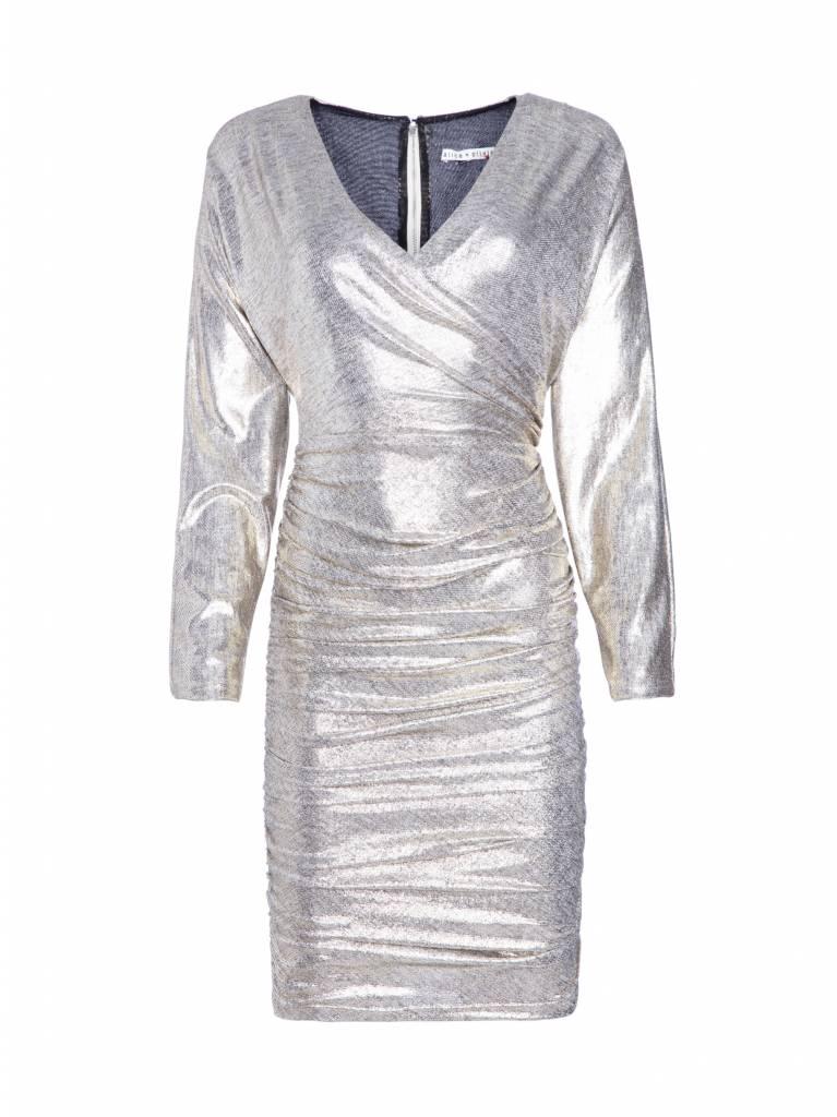 Alice + Olivia Pace Bat Wing Silver Mini Dress