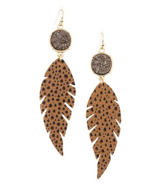 Spotted Feather Geode Earrings