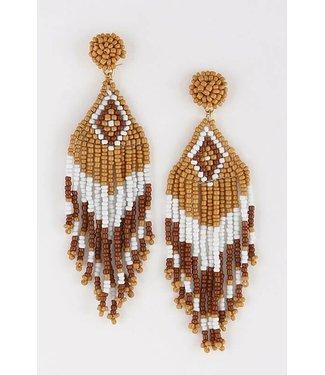 Aztec Beaded Drop Earrings Mustard