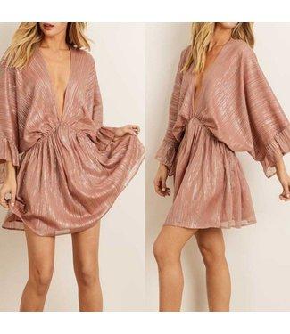 Illuminate Yourself Metallic Blush Ruffle Sleeve Dress