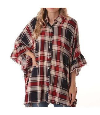 Free To Be Oversized Plaid Top