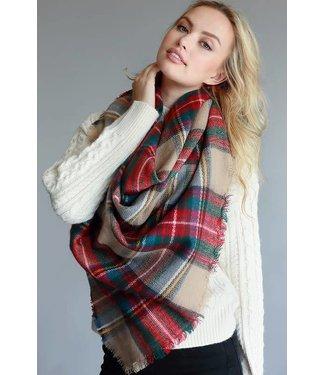 Amber Autumn Plaid Blanket Scarf