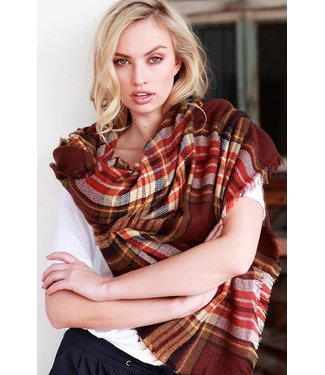 Amber Autumn Plaid Blanket Scarf