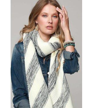 Layla Plush Diagnal Stripe Knit Scarf