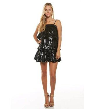 Dazzle Me Layered Sequin Dress Black