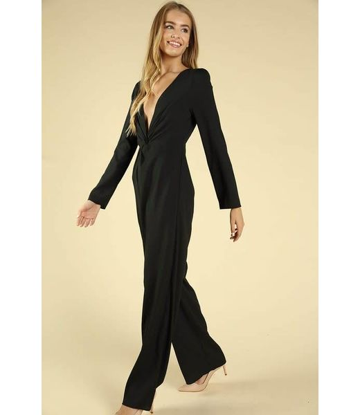 Take Me Out Twist Waist V Neck Jumpsuit Black