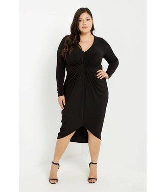 Make No Exceptions Long Sleeve Twist Waist Midi Dress Black PLUS