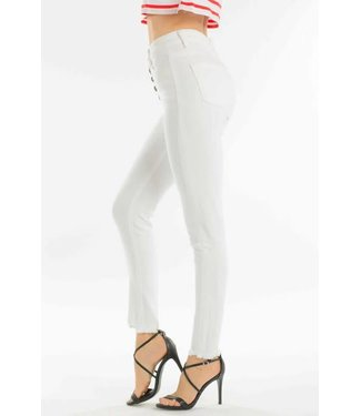 Aubry White Button Down High Waisted Skinnies
