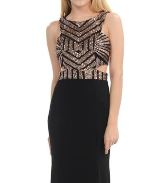 Dazzle Me Black and Gold Geometric Sequin Side Cut Out Gown