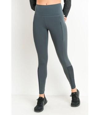 Prescilla Pine Highwaist Zipper Pocket Moto Mesh Full Leggings