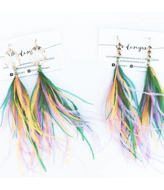 Locally Hand Crafted Mardi Gras Feather Earrings