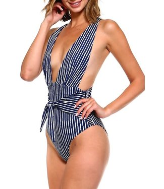One Piece Deep V Neck Front Tie