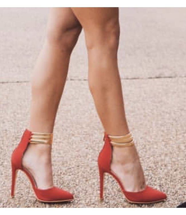"""Red""y for the Runway - Red with Gold Ankle Strap Heels"
