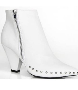 Jessica Metallic Heel White Booties