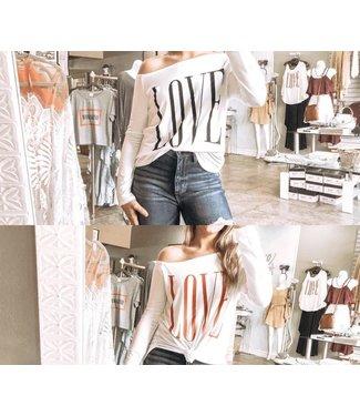 LOVE Long Sleeve Slouch Shoulder Top