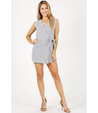 Tied Up Over You Striped Wrap Romper