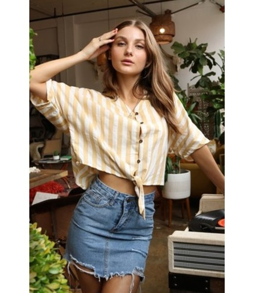 Sundaze Button Down Tie Front Top