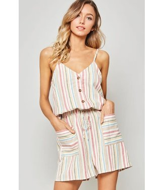 Color Me Perfect Striped Button Down Romper