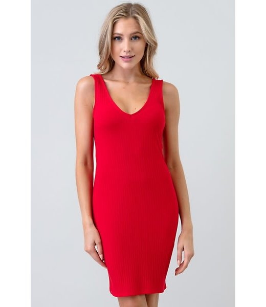 Seeing Red Ribbed V Neck Dress