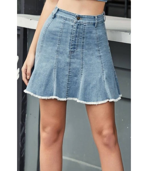 The Simple Life Pleated Denim Skirt