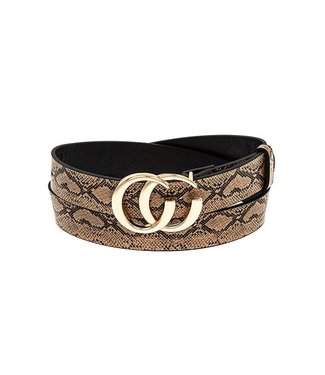 Snake Print Open Circle Gucci Look A Like Belt
