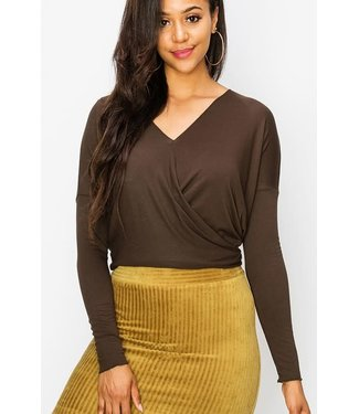 Long Sleeve Surplus Twist front HiLo Basic Top