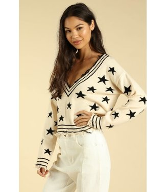 Star Quality Distressed Edged Sweater