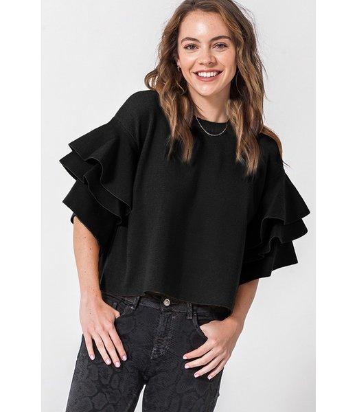 Becca Belle Sleeve Layered Ruffle Sleeve Top