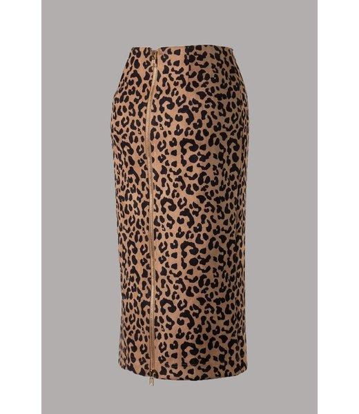 Wildly Tamed Zipper Detail Midi Skirt