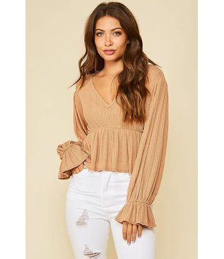 Pumpkin Spice Puffed Sleeve Knit Top