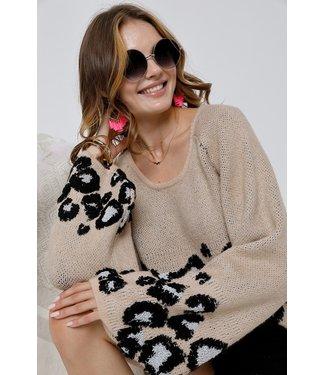 Natty Grace Layla Leopard Print Sweater