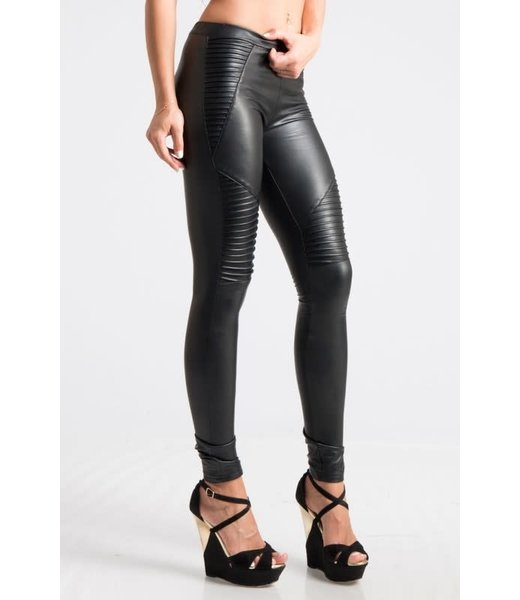 Natty Grace Ready Or Not Faux Leather Textured Leggings