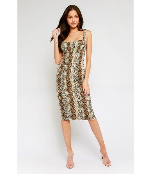 Natty Grace Slithering Beauty Snakeskin Midi Dress