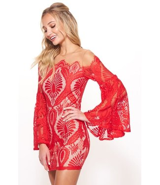 Steal the Show Lace Bell Sleeve Mesh Top Dress