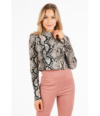 The Skylar Snakeskin Mock Neck Crop Top