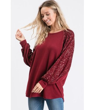 Natty Grace Can't Get Enough Bubble Sequin Sleeve Top