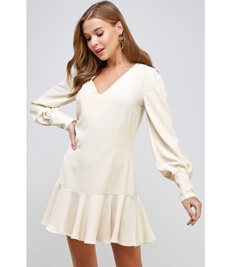 Natty Grace Southern Charm Ruffle Hem V Neck Dress