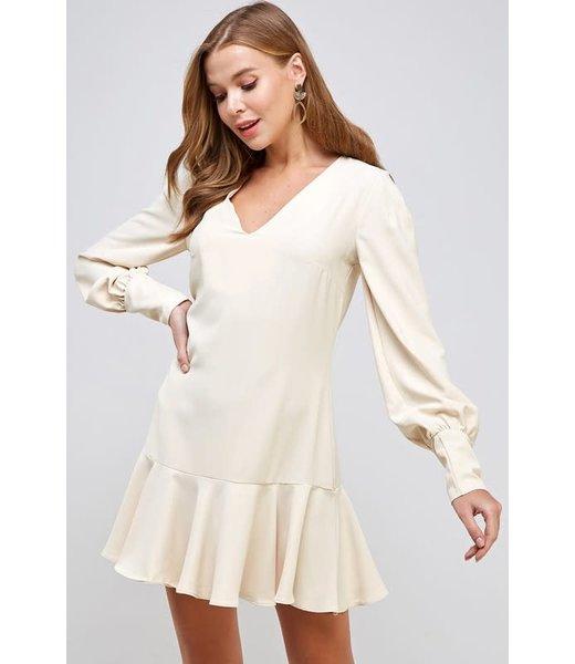 Natty Grace Southern Charm Ruffle Hem V Neck Dress