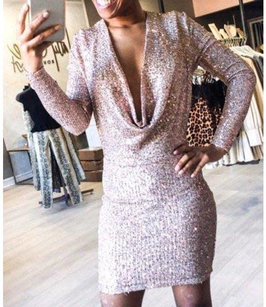 Natty Grace Party Til Dawn Cowl Neck Sequin Dress