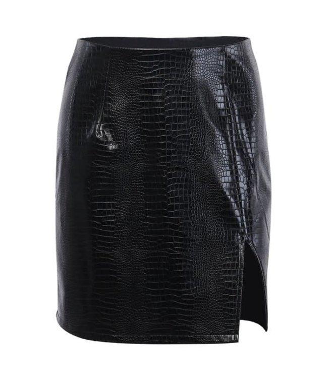 Natty Grace Teagan Textured Faux Leather Skirt