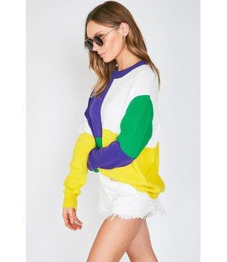 Natty Grace Royal St. Color Block Sweater (Pre-Order: 1/15/20)