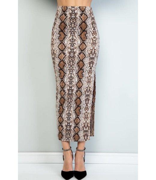 Natty Grace Shannon Snakeskin Midi Skirt