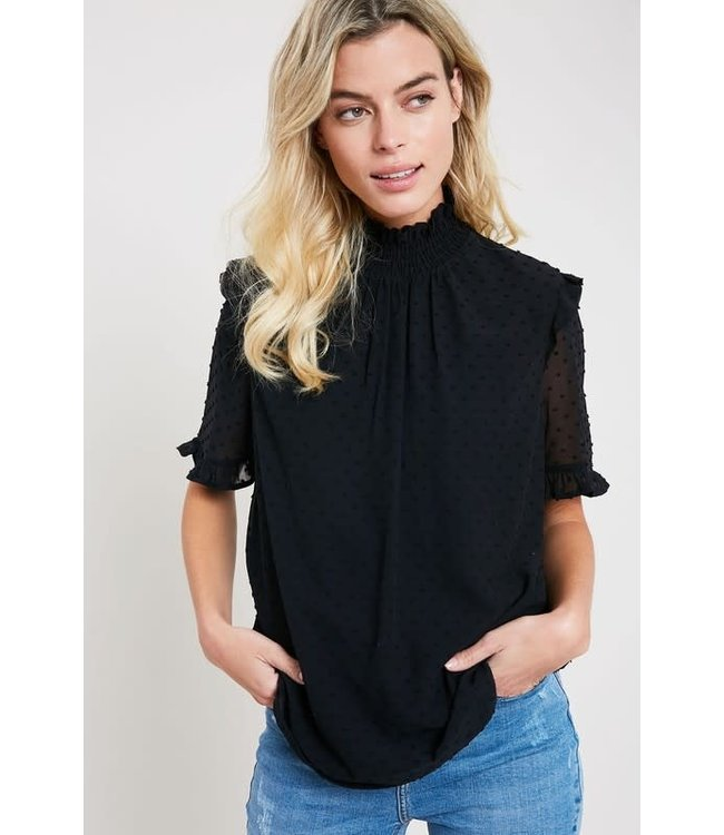 Natty Grace Sophie Swiss Dot Mock Neck Blouse