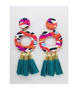 P U K K A by Natty Grace Can't Stop M Drop Tassel Earrings - Teal