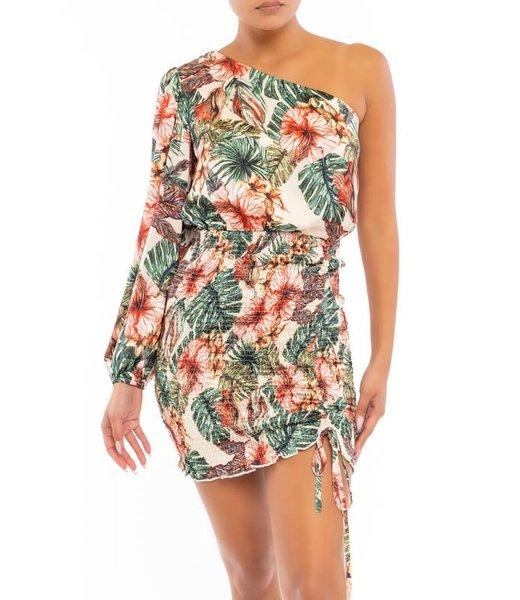 Natty Grace Moana Tropical Print Smock One Shoulder Dress