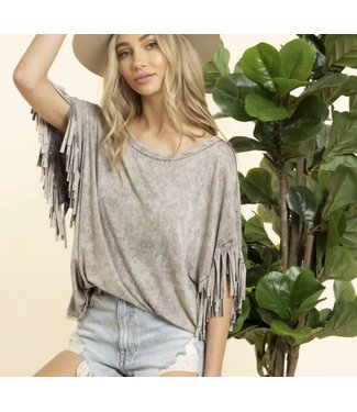 Natty Grace Boho Fringe Mineral Wash Top