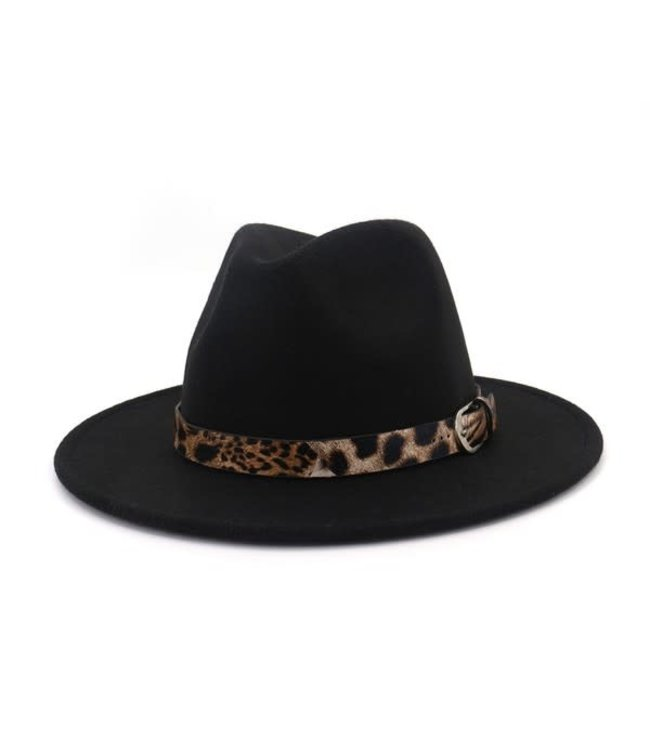 Natty Grace Living On The Edge Leopard Trim Detail Hat